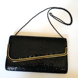 Vintage 70s black mesh clutch shoulder evening bag
